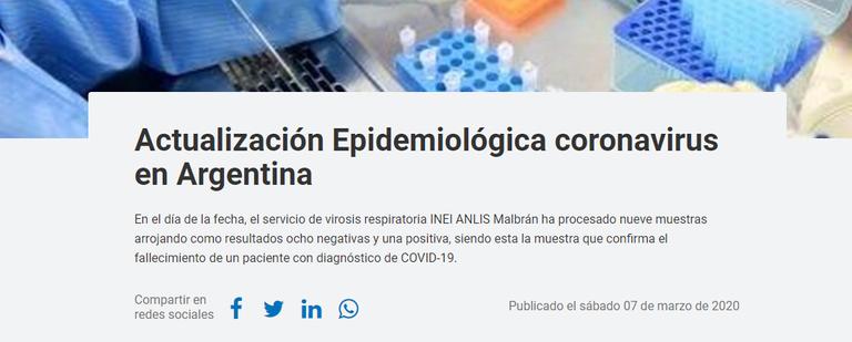 Qué dice el comunicado oficial sobre la primera muerte por coronavirus